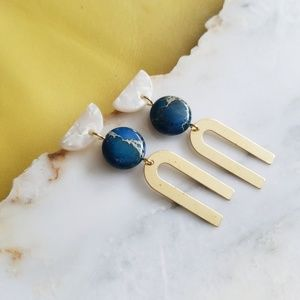 Acrylic, Brass, Natural Jasper Stone Bead Earrings